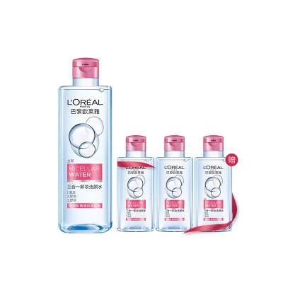 欧莱雅(LOREAL)三合一卸妆洁颜水套组(洁颜水 倍润型 400ml+倍润型95ml*3)