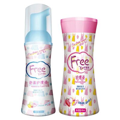 ABC Free・飞 洗液 卫生护理液 80ml+80ml 抑菌止痒 清新�味 温和呵护 �ㄠ�型+泡沫型 组合装