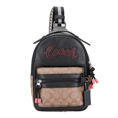 COACH 蔻驰 奢侈品 男女同款中号手提单肩斜挎包胸包黑色拼色人造革配皮