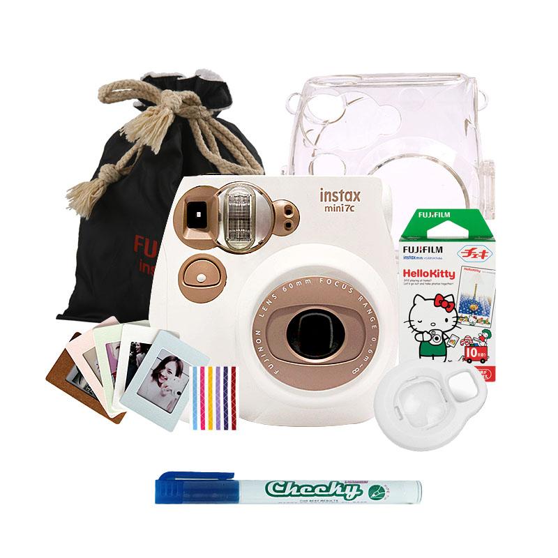 富士(FUJIFILM)INSTAX 一次成像相机立拍立得 mini7C 胶片相机 奶咖色实用套装二(含10张花边相纸)