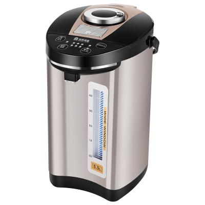 容声电水壶开水瓶304不锈钢电热水壶5L大容量五段保温全自动智能烧水保温一体壶 重力出水夜间安全灯 香槟色