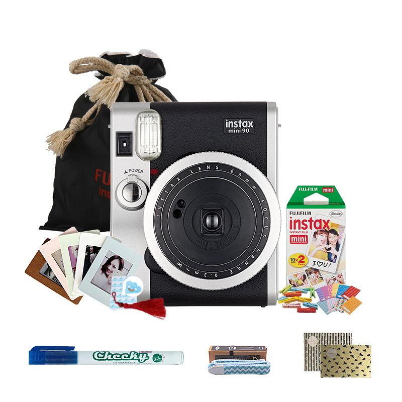 富士(FUJIFILM)INSTAX 一次成像相机立拍立得 mini90相机黑色 超值套餐二(含20张胶片)