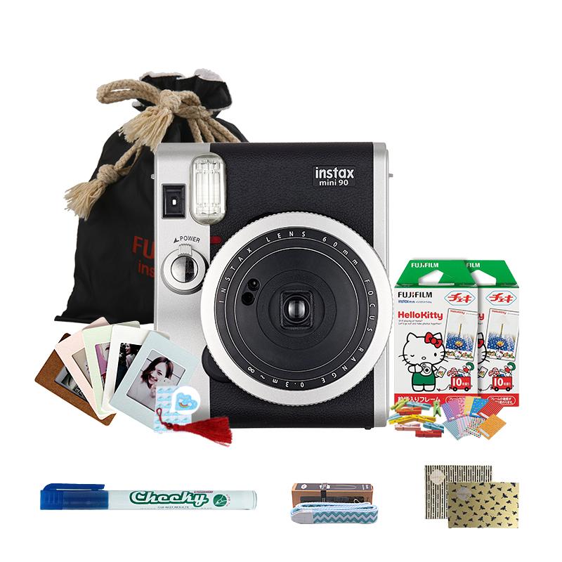 富士(FUJIFILM)INSTAX 一次成像相机立拍立得 mini90相机黑色 奢华套餐三(含20张胶片)
