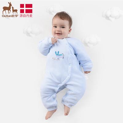 欧孕(OUYUN)新生婴儿衣服宝宝连体衣春秋开档哈衣0-3个月初生长袖爬爬服哈衣
