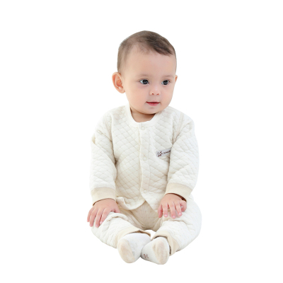 亿婴儿 彩棉婴儿保暖内衣对襟套装秋冬加厚新生儿衣2276