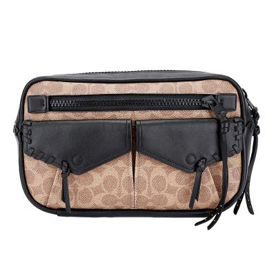 COACH 蔻驰 奢侈品 男士专柜款中号单肩腰包胸包卡其拼色人造革配皮