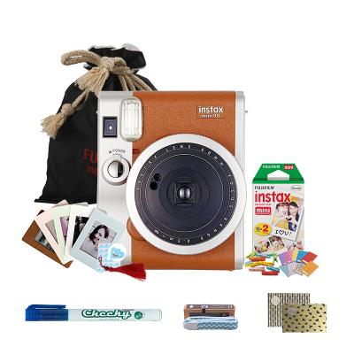 富士(FUJIFILM)INSTAX 一次成像胶片相机立拍立得 mini90相机棕色 精美套餐二(含20富士小尺寸胶片)