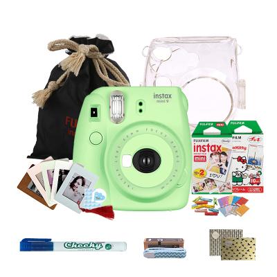 富士(FUJIFILM)INSTAX 一次成像相机立拍立得 mini9 草木绿色胶片相机 奢华套餐三(含30张相纸)