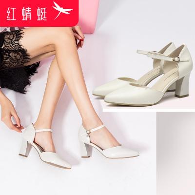 红蜻蜓女鞋春季新款牛皮包头高跟单鞋女粗跟中空包跟一字式扣带凉鞋女