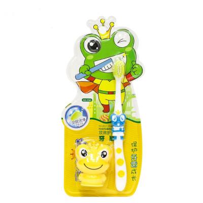青蛙王子妙奇蛙幼儿童牙刷双效护齿龈乳牙换牙期刷牙软毛宝宝牙刷颜色随机发