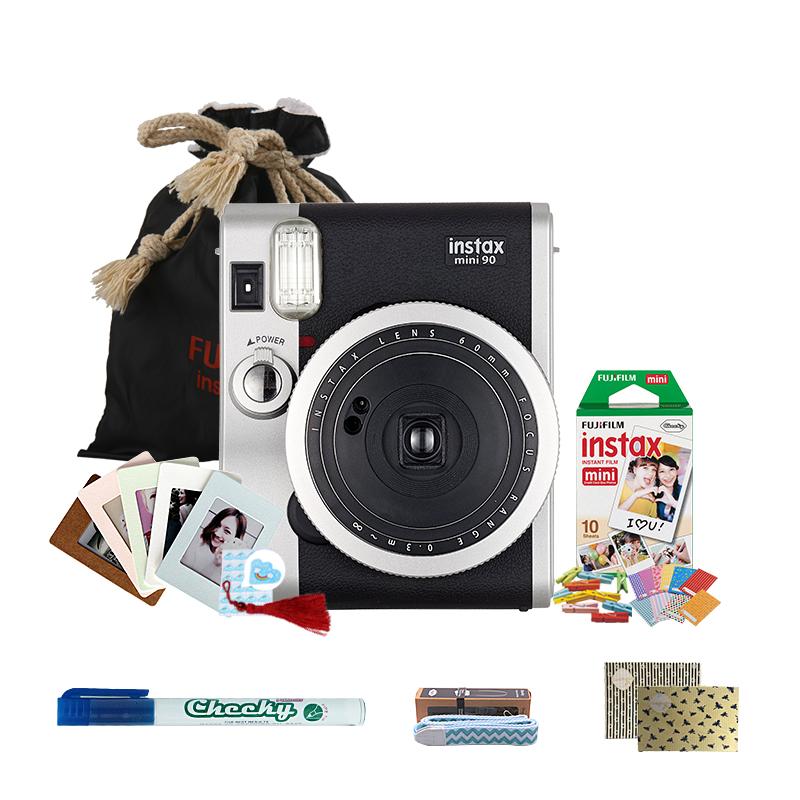 富士(FUJIFILM)INSTAX 一次成像相机立拍立得 mini90相机黑色 入门套餐一(含10张胶片)