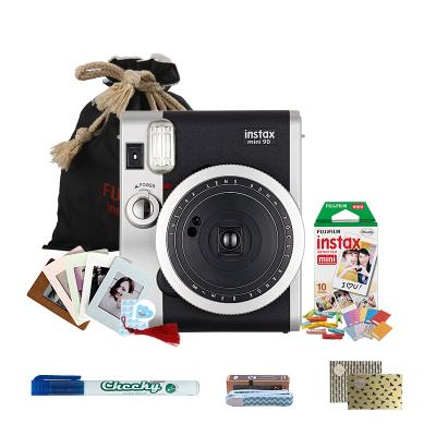 富士(FUJIFILM)INSTAX一次成像胶片相机富士小尺寸拍立得 mini90 相机黑色 入门套餐一(含10张胶片)