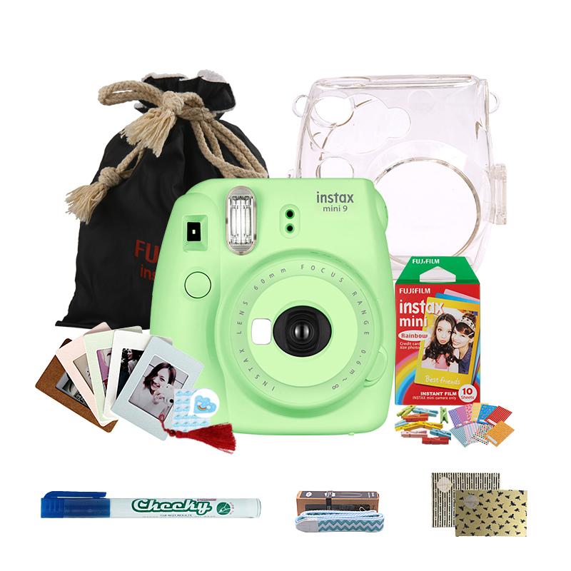 富士(FUJIFILM)INSTAX 一次成像相机立拍立得 mini9 草木绿色胶片相机 入门套餐一(含10张相纸)